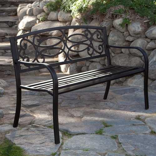 4-Ft Metal Garden Bench in Antique Black Finish