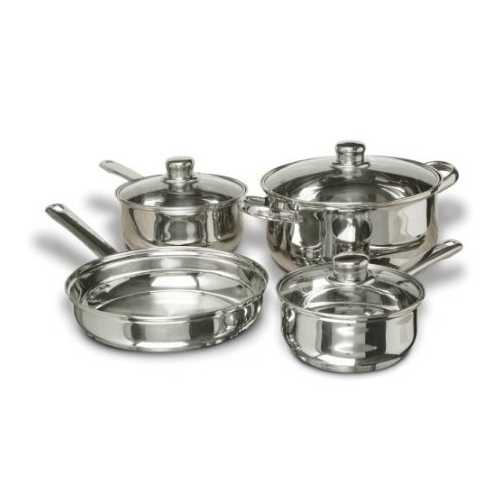 7-Piece Stainless Steel Cookware Set with Tempered Glass Lids