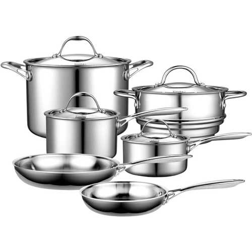 10-Piece Stainless Steel Cookware Set - Lifetime Warranty