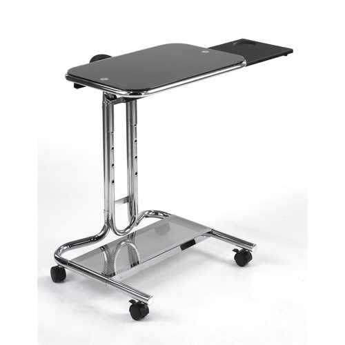 Clear Glass Top Mobile Laptop Computer Cart Desk with Mouse Pad