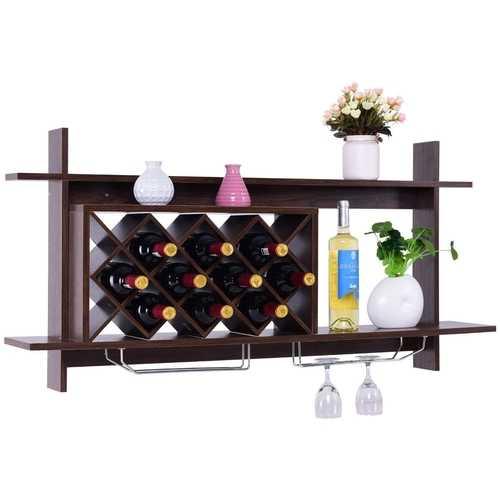 Walnut Wall Mount Holds 10 Wine Rack with Glass Holder Storage Shelf