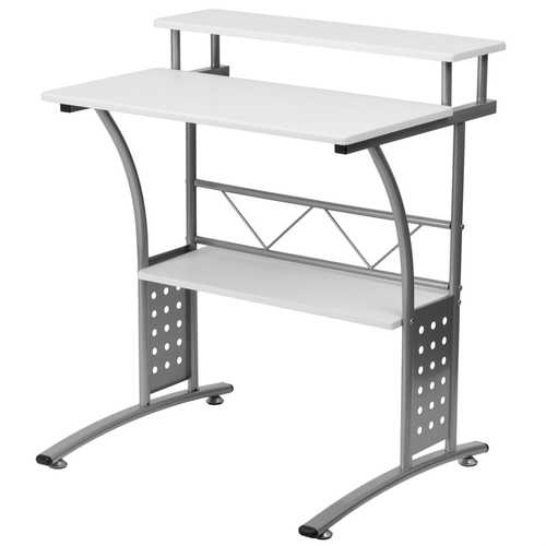 Modern Metal Frame Computer Desk with White Laminate Top and Raised Shelf