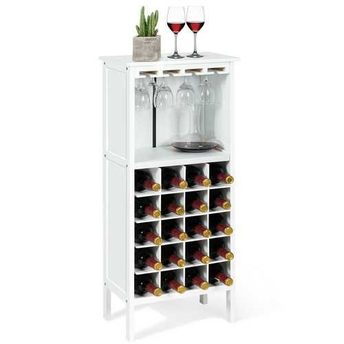 20 Bottles White Wood Storage Wine Rack Glass Cabinet