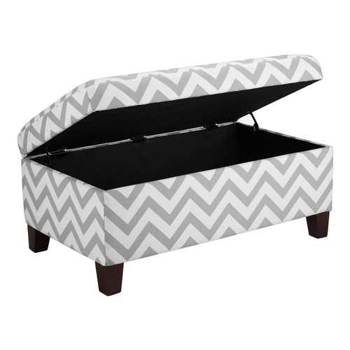 Grey & White Chevron Stripe Padded Storage Ottoman Bench
