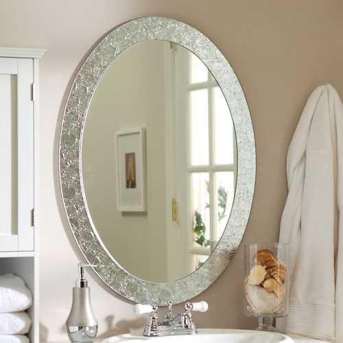 Oval Frame-less Bathroom Vanity Wall Mirror with Elegant Crystal Look Border