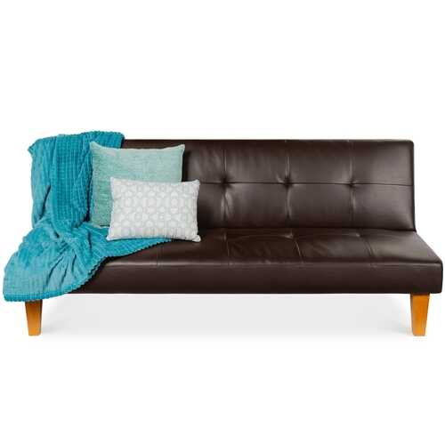 Convertible Faux Leather Tufted Lounge Futon Sofa Bed Adjustable Back in Brown