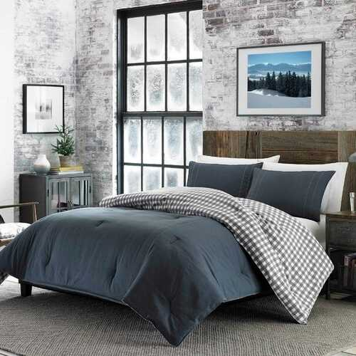 King size 100% Cotton Reverse Plaid Gray/White Comforter Set