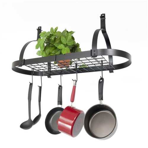 Oval Ceiling Mount Pot Rack in Hammered Steel with Drywall Anchors