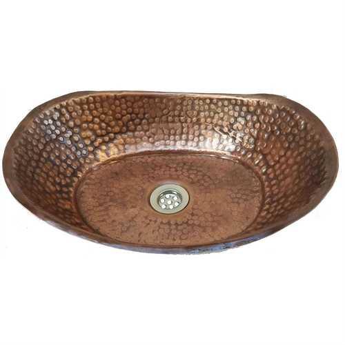 Solid Hammered Copper Handmade Round Vessel Bathroom Sink