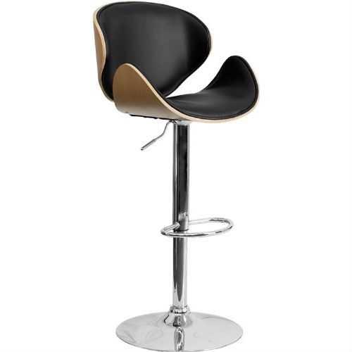 Modern Adjustable Height Barstool with Curved Black Vinyl Seat & Back