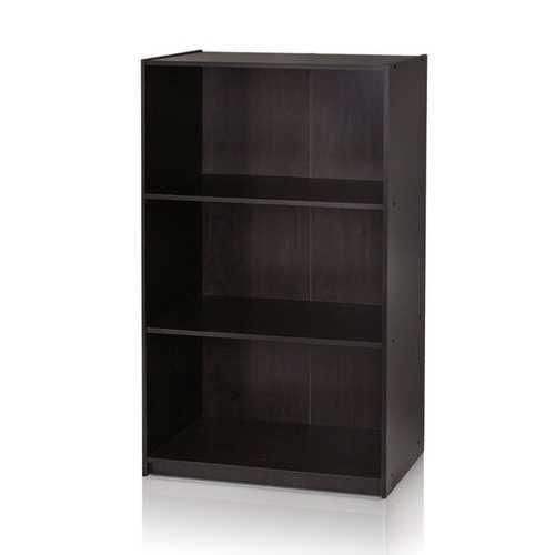 Modern 3-Shelf Bookcase in Espresso Wood Finish