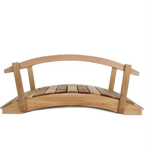 4-Ft Cedar Wood Garden Bridge with Rails in Natural Unstained Finish