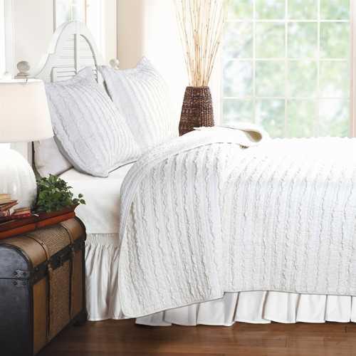 Full 3-Piece Quilt Set 100% Cotton White Ruffled Stripes Reversible