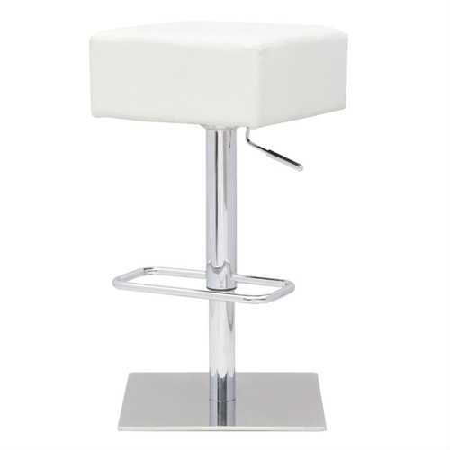 Set of 2 Backless Modern Swivel Barstool with White Faux Leather Seat