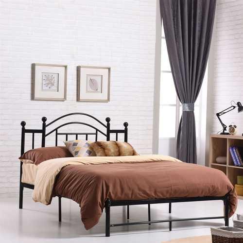 Full size Black Platform Bed Frame with Metal Slats and Headboard