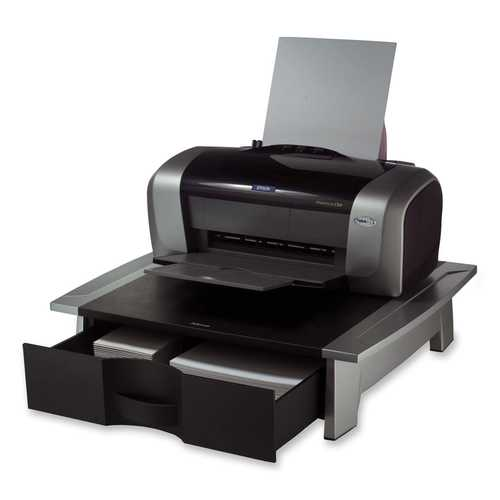 Low Profile Contemporary Printer Stand with Paper Drawer