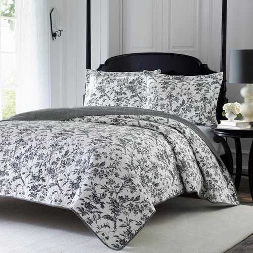 Full Queen Cotton Floral 3-Piece Reversible Quilt Set in Black Grey White