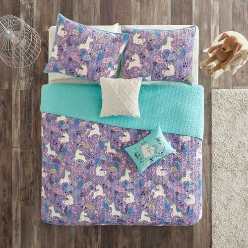 Full/Queen 100% Cotton Kids Teal Purple Unicorn Quilt Coverlet Bedspread Set