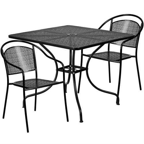 Light Grey Steel Metal 3-Piece Outdoor Patio Furniture Set
