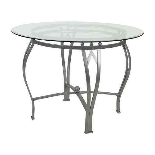 Round 45-inch Clear Tempered Glass Dining Table with Silver Frame