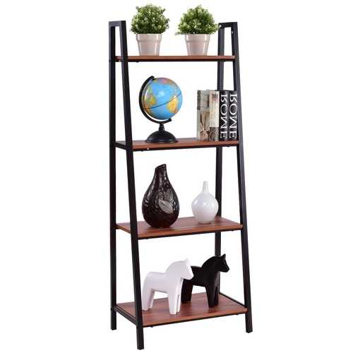 Ladder Style 4-Shelf Bookcase in Black Steel Walnut Wood Finish