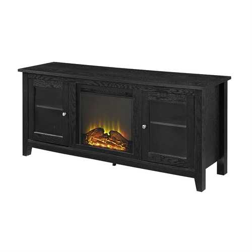 Black 2-in-1 TV Stand with Electric Fireplace Heater