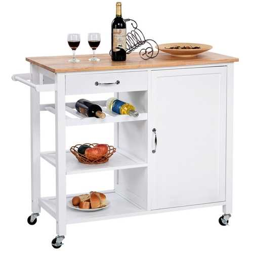 Modern White Kitchen Island Cart with Wood Top and Wheels