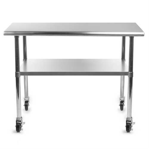 Stainless Steel 48 x 24-inch Kitchen Prep Table with Casters