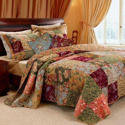 King 100% Cotton Floral Paisley Quilt Set w/ 2 Shams & 2 Pillows