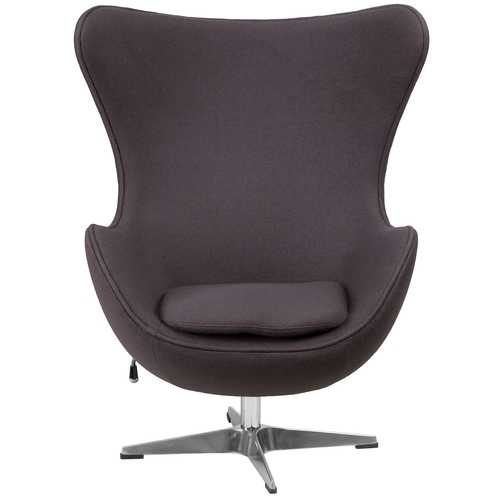 Grey Wool Fabric Upholstered Mid-Century Style Arm Chair