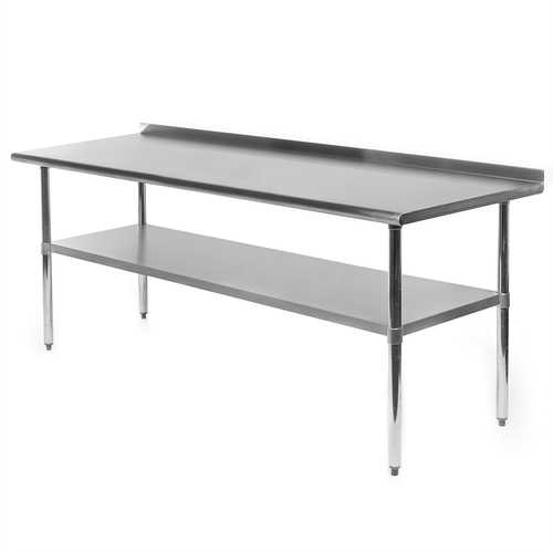 Stainless Steel 72 x 24 inch NSF Certified Kitchen Prep Work Table with Backsplash