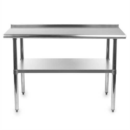 Heavy Duty 48 x 24 inch Stainless Steel Kitchen Prep Work Table with Backsplash