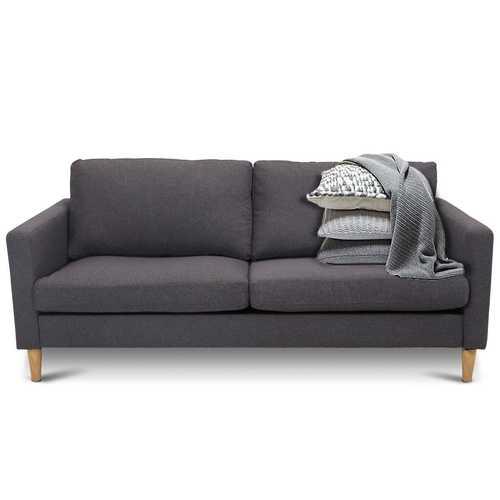 Modern Mid-Century Style Grey Fabric Sofa with Wood Legs