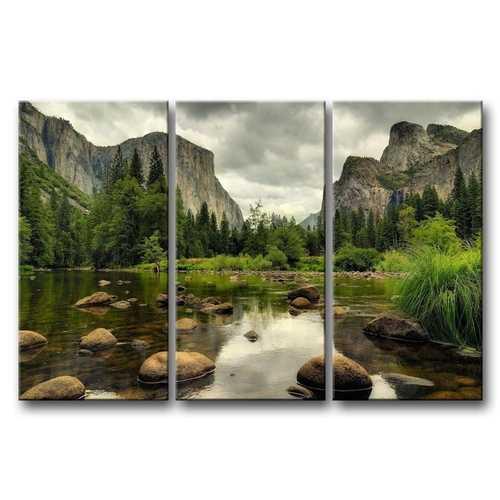 Yosemite Mountain Stream 3-Piece Wall Art Framed Print on Canvas