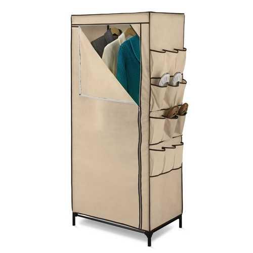 Tan 27-inch Portable Storage Closet Wardrobe with Shoe Organizer
