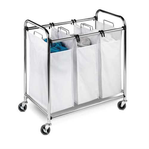 Heavy Duty Commercial Grade Laundry Sorter Hamper Cart in White Chrome