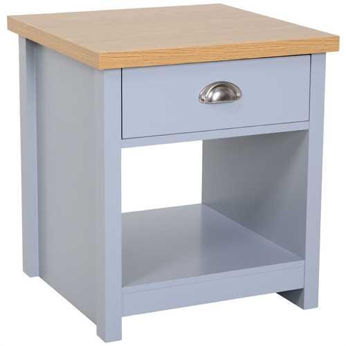 Gray Oak Finish Wood Top 1-Drawer Sofa Table Nightstand with Bottom Shelf