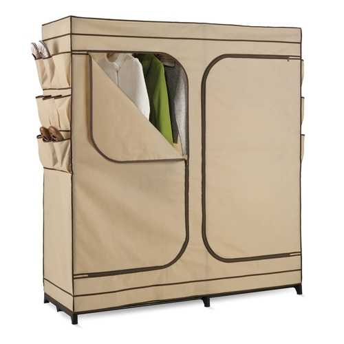 Khaki Double Door Wardrobe Portable Clothes Closet with Shoe Storage