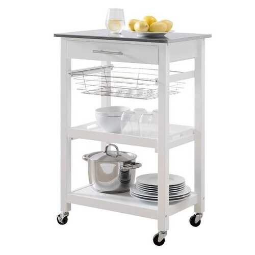 White Stainless Steel Top Kitchen Cart with Drawer and Storage Shelves