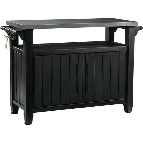 Outdoor Grill Party Bar Serving Cart with Storage in Graphite Grey