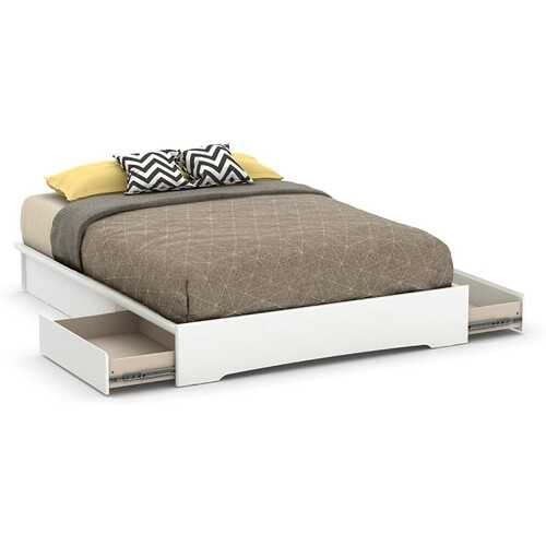 Queen size Modern White Platform Bed Frame with 2 Storage Drawers