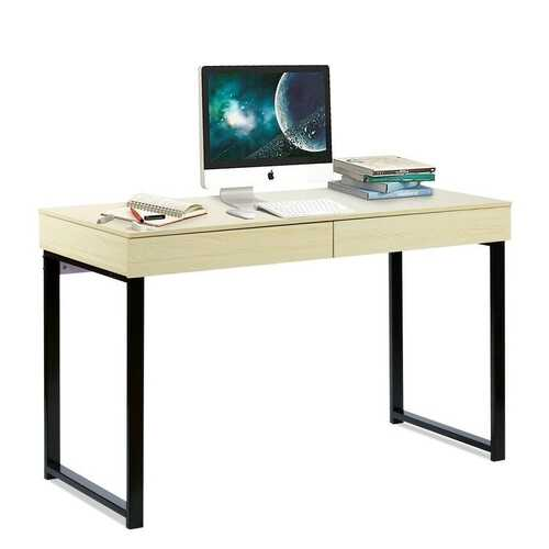 Modern Metal Wood Home Office Desk with 2 Drawers