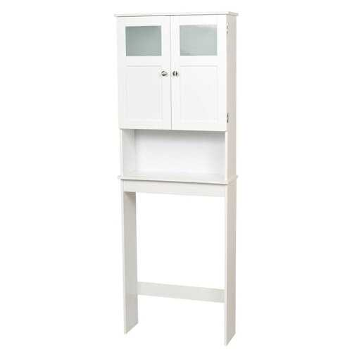 White Space Saving Over Toilet Bathroom Storage Cabinet with Glass Panel Doors