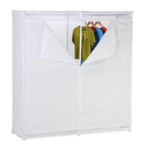 60-inch White Portable Closet Clothes Organizer Wardrobe