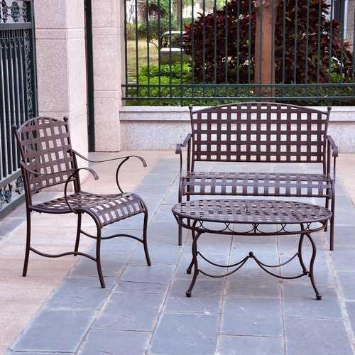 3-Piece Wrought Iron Patio Furniture Lounge Seating Group Set