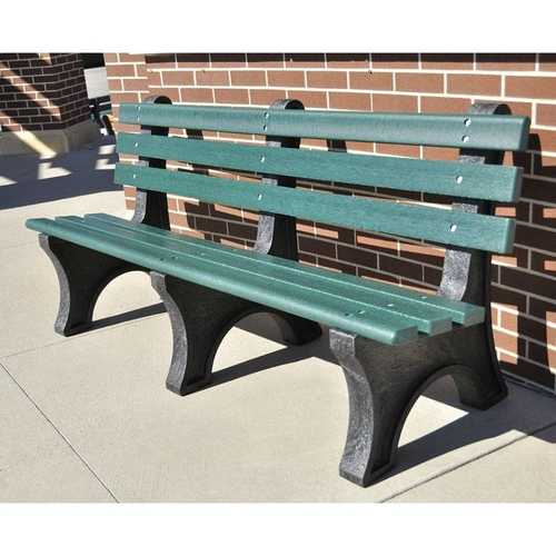 Green Commercial Quality Outdoor Garden Eco-Friendly Plastic 4-Ft Park Bench