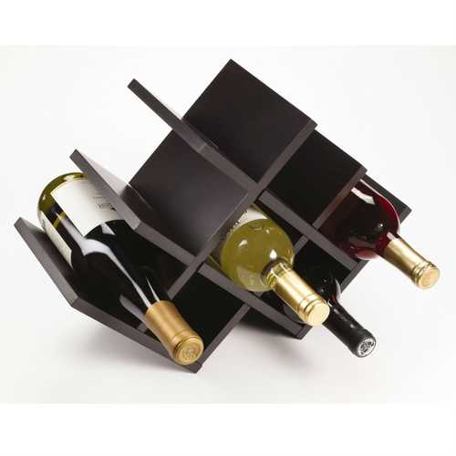 8-Bottle Mariposa Wine Rack Modern Design Dark Brown Finish