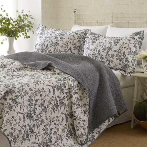 King size Cotton Blend 3-Piece Reversible Quilt Set in Grey White Floral Design