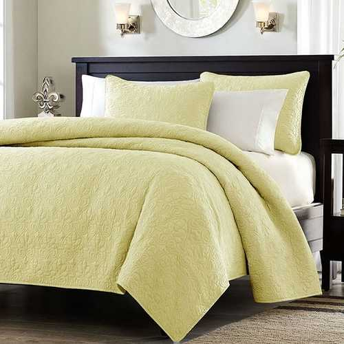 King size Yellow Quilted Polyester Microfiber Coverlet Set with Cotton Fill