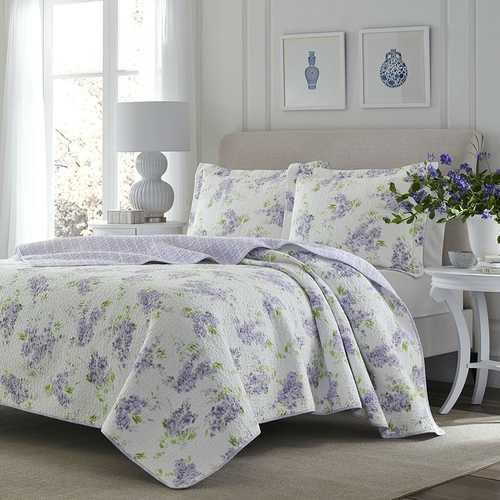 King size 3-Piece Cotton Quilt Set with Purple White Floral Pattern